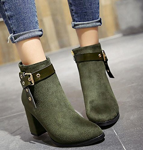 KHSKX-Army Green Coarse With The Tip Of The High-Heel Shoes Boots And Martin Short Boots Korean Version Of The Belt Clip Satin Bare Boots 35