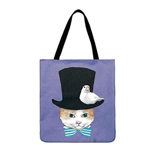 zhangfuhe 2PCS Lovely Cat Impreso Tote Casual Bolsa de Playa ...