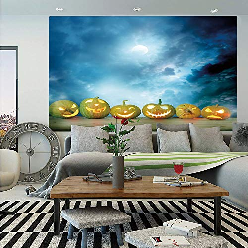 Halloween Removable Wall Mural,Spooky Halloween Pumpkins on Wood Table Dramatic Night Sky Print Decorative,Self-Adhesive Large Wallpaper for Home Decor 66x96 inches,Dark Blue Light Blue Yellow]()