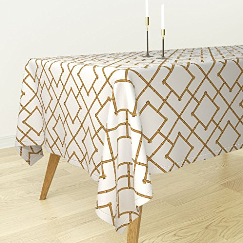 Roostery Tablecloth - Bamboo Trellis Chinoiserie Fabric Tan Brown by Willowlanetextiles - Cotton Sateen Tablecloth 70 x 70