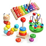 4 PCS Brilliant Basics Classic Wooden Toys for Baby and...