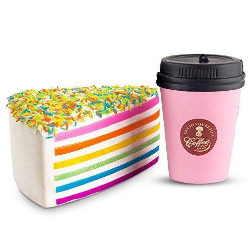 WATINC Jumbo 2pcs Squishies coffee cup&Rainbow cake Slow Rising Squishies Sweet Scented Kid Toy Hand,Stress Relief Toy Lovely?Toy Large(cup&pink ice cream)