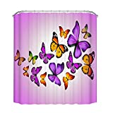 Pink and Purple Shower Curtain Fengheshun Colorful Butterfly Bathroom Shower Curtain, Waterproof and Mildew Resistant Fabric Bath Curtains Purple Pink Yellow 72''W×72''L