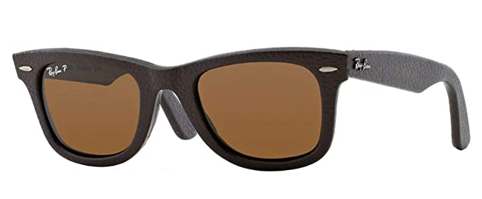Ray Ban Wayfarer, Gafas de Sol Polarizado Unisex, Marrón (brown leather), 50