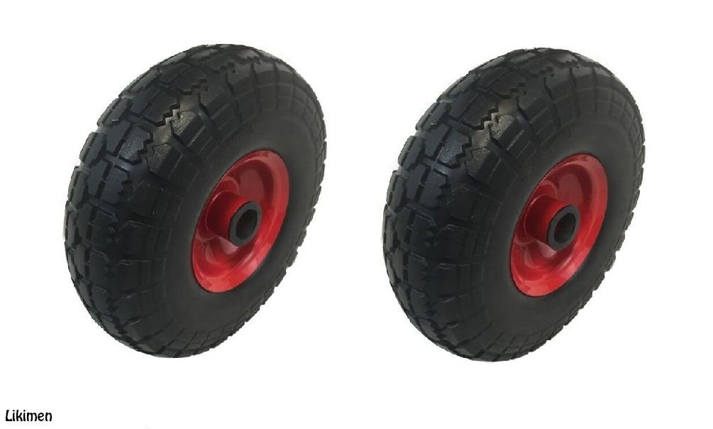"2 X PU 10/"" METAL Puncture Proof sack truck trolley wheel 4.10//3.50-4 35MM BORE"