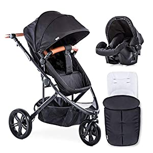 New Hauck Pacific 3 Shop N Drive Travel System 2 Way Facing 3 Wheel Pushchair Pram+Car seat+cosytoes+Raincover in Caviar…