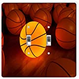 Rikki Knight 1993 Double Toggle Basketball Glow Ball Design Light Switch Plate