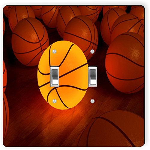 Rikki Knight 1993 Double Toggle Basketball Glow Ball Design Light Switch Plate by Rikki Knight