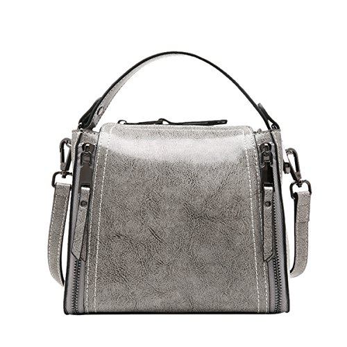 Q0906 Grey Leather LxWxH Shoulder 20X11X18CM Handbag Women Bag Dissa Casual Fashion aqdBa