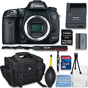 Canon EOS 7D Mark II with Wi-Fi Digital SLR Camera Body Only Bundle includes Camera, 32GB Memory Card, Bag, Cleaning Kit - International Version