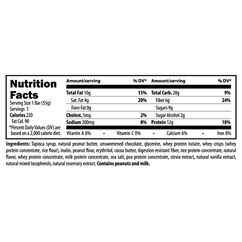 Designs for Health - P.B. Meal Bar - Whey + Rice Protein for Sustained Energy, Fructose + Sucrose Free, 12 Bars by designs for health (Image #3)