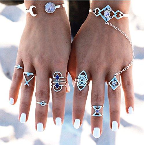 Gigamax(TM) 8pcs/set Bohemian Midi Ring Set Vintage Steampunk Cross Moon Anillos Boho Finger Ring Knuckle Rings for Women Anel - Women Anel