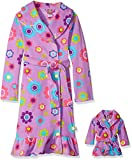 Dollie & Me Big Girls' Floral Printed Fleece Robe, Purple/Multi, X-Small offers