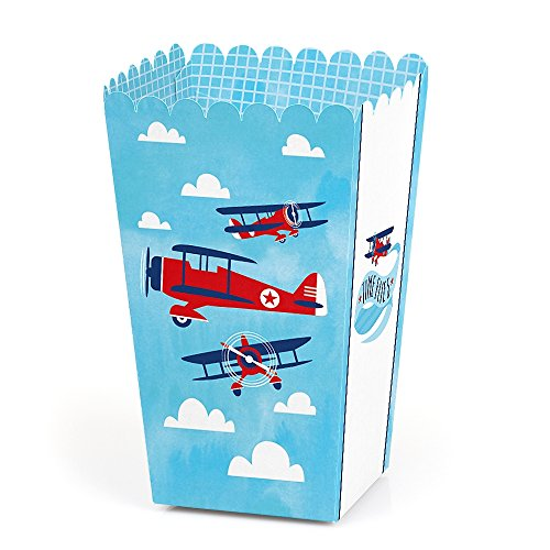 Taking Flight - Airplane - Vintage Plane Baby Shower or Birthday Party Favor Popcorn Treat Boxes - Set of -