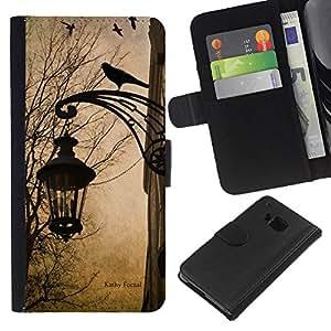 Planetar® Modelo colorido cuero carpeta tirón caso cubierta piel Holster Funda protección Para HTC One M7 ( Lámpara primavera caída del otoño Cuervo Calle)