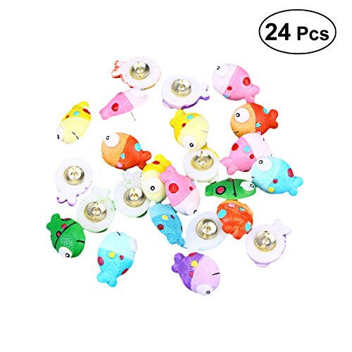 (STOBOK 24 Pcs Fish Push Pins Set Clownfish Plastic Thumbtacks Cartoon Cute Drawing Pin for Maps Calendar (As Shown, Average Mixed Pack))