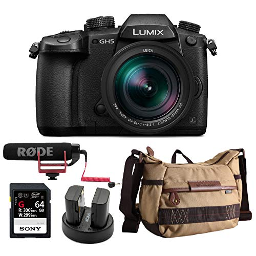 Panasonic LUMIX GH5 4K Mirrorless Camera w/Lecia 12-60mm (DC-GH5LK) w/ 64GB UHS-II + VideoMic Go + Havana Bag