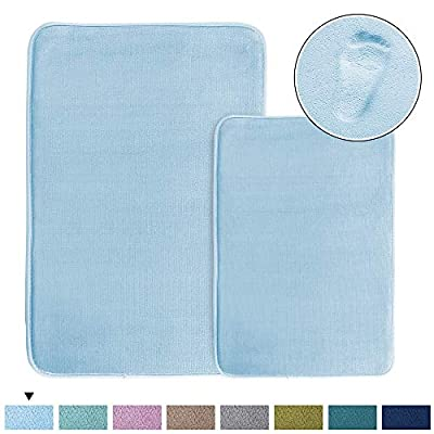 "Cozy Velvety Memory Foam Bath Rugs/Carpets (2 Pack) Soft Flannel Bath Mat Set Quick Dry Non-Slip Rugs Set for Bathroom/Powder Room, Machine-Washable (20"" x 32"" Plus 17"" x 24""- Sky Blue) - ULTRA COMFORT: Each pack including 2 bath mats (20"" x 32"" over size and 17"" x 24"" standard size). Crafted from super soft flannel with 1"" thick memory foam, give your feet the gift of massage service, transform your bathroom into a home spa oasis NON SKID: With updated version slip-resistant rubber backing, keeps the rugs/ mats long lasting and more durable, feature strongly hold mats firmly in place for safety. Recommended for powder room, bath room, kitchen and bedroom GREAT ABSORBENT: This classic bath mat set can soak up the water like sponge and keep your floor dry quickly, keeping away from any mildew or moldy, spruce up your powder room for maximum serenity and warmth - bathroom-linens, bathroom, bath-mats - 51EfjRFgoHL. SS400  -"