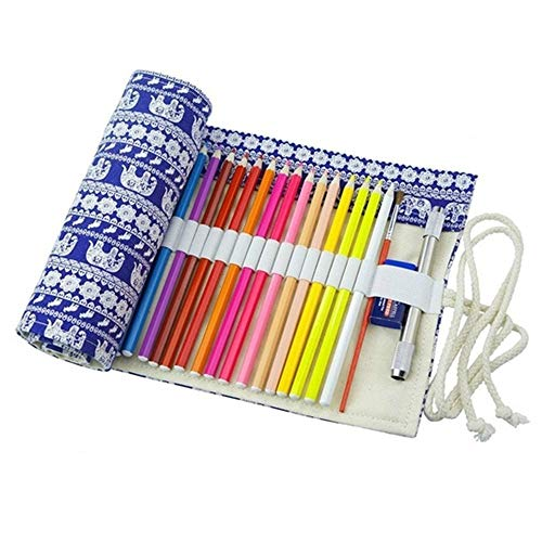ZAONE Vintage Canvas Pencil Wrap for Colored Pencil, Pen/Pencil Roll Holder for Artist Adult Coloring Travel Portable Storage Organizer (Elephant, 72 Slots) ()