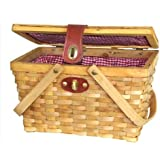 Quickway Imports QI003046 Picnic Basket with Red White Plaid Lining