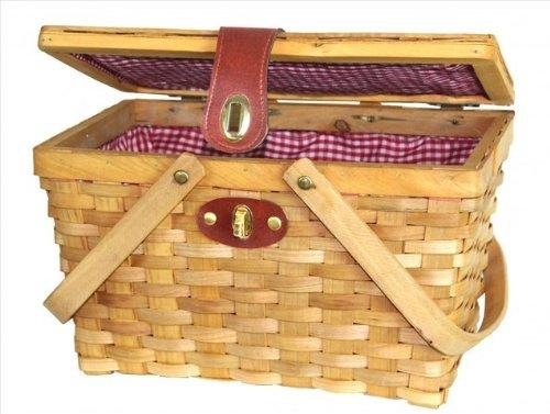 Vintiquewise Cesta de pícnic, con Forro de Cuadros Rojos y Blancos, de Madera Color marrón Quickway Imports QI003046