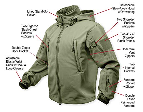 (Rothco Special Ops Soft Shell Jacket, Olive Drab, Medium )