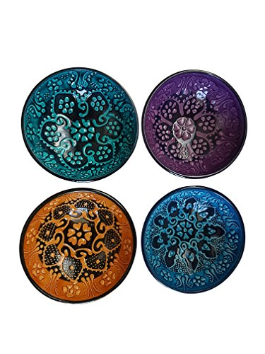 Bead Global Traditional Turkish Decorative Ceramic Bowls Set of 4 - Hand Painted Centerpiece Serving Bowl , Turquoise, Purple, Blue, -