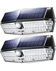 Mpow [2 Pezzi] Luce Solare 66 LED, 3 modalità di Illuminazione, IP66 Impermeabile, Lampada con Sensore di Movimento, Super SunPower Pannello Solare, Lampade Solari Esterna per Giardino/Cortile/Garage