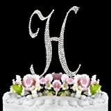 RaeBella Weddings Completely Covered Swarovski Crystal Silver Wedding Cake Topper ~ Medium Monogram Letter H