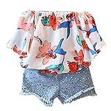 Sharemen Baby Floral Chiffon Shirt Shorts Clothes 2 Pcs Set (Multicolor, 4-5Years)