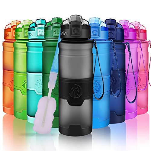 ZORRI Sport Water Bottle Kids, 500ml/17oz - Bpa Free Eco-Friendly Tritan Plastic, Reusable Drinks Water Bottles Filter, Leak Proof Flip Top, Open 1-Click Gym, Yoga, Running