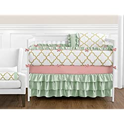 Boutique Ava Mint Coral White and Gold Trellis Girls Baby Bedding 9 Piece Crib Set with Bumper