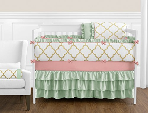 (Boutique Ava Mint Coral White and Gold Trellis Girls Baby Bedding 9 Piece Crib Set with)