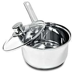 Ecolution Pure Intentions Saucepan - Features Tempered Glass Lid, Stay-Cool Knob and Handle, and Encapsulated Bottom - Oven Safe - Curbside Recyclable Stainless Steel - 2 Quarts
