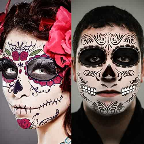Day of the Dead, Skeleton Face Tattoo, 6 Sheets Sugar Skull, Glitter Red Roses Day of the Dead Sugar Skull Temporary Face Tattoo Kit Halloween Makeup Tattoo Kit for Women Men, 36 Pcs, 6 Sheets