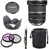 Canon EF-S 10-22mm f/3.5-4.5 USM SLR Lens for EOS Digital SLR Cameras + 3pc Filter Kit + Tulip Lens Hood + Deluxe Lens Pouch + Cap Keeper + Lens Cleaning Pen Accessory Bundle Kit