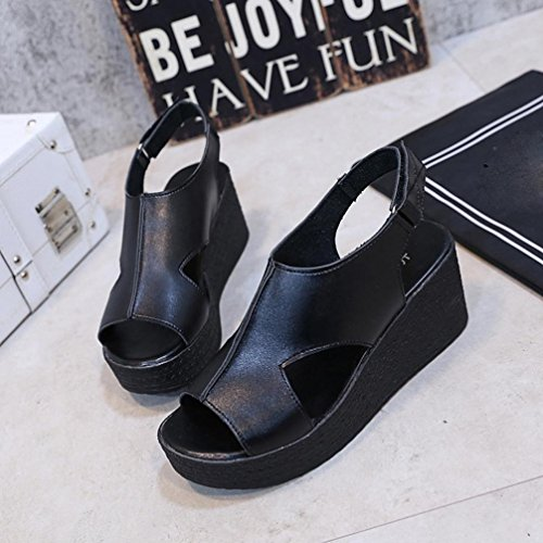 Longra 2018 Women's Summer Sandals,Lady Spring Wedge Mid Heels Bottom Wedges Slope Open Toe Sandals Buckle Strap Shoes Black