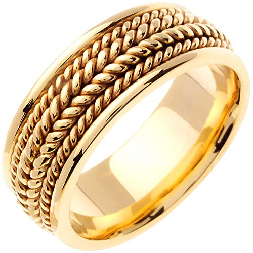 14K Yellow Gold Braided Rope Edge Men's Comfort Fit Wedding Band (8mm) ()