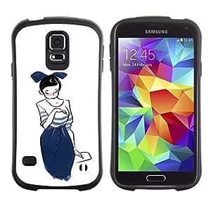 Paccase / Suave TPU GEL Caso Carcasa de Protección Funda para - Japanese Girl Drawing Sketch Fashion Blue Bowtie - Samsung Galaxy S5 SM-G900