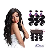 Brazilian Hair Bundles With Frontal Closure, Mornice 10A Body Wave 3 Bundle With 13×4 Ear To Ear Free Part Lace Frontal Virgin Human Hair Extensions Natural Color (14 16 18 +12) Review