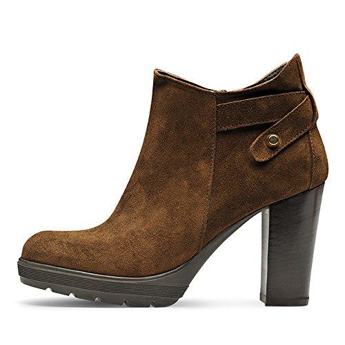 Evita Shoes TUANA Bottines Femme Daim Marron foncé 39 OuZUcn