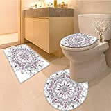 Miki Da 3 Piece Toilet mat set Lacy Pastel with Butter and Lotus Meditation Design White Light Pink 3 Piece Shower Mat set