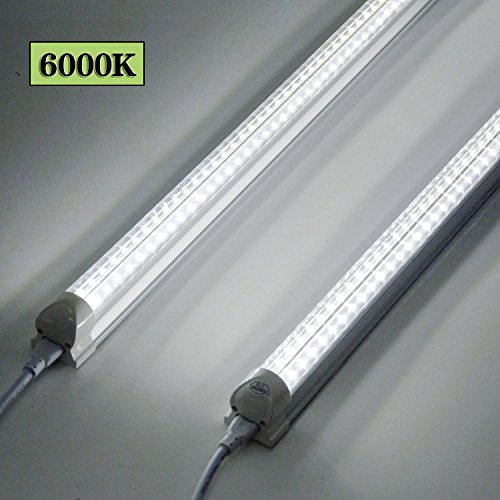 8FT LED Shop Light Fixture - 72W 7200LM, 6000K Cool White, Dual Row V Shape, T8 Integrated Tube Strip Cooler Lights, Clear Cover, Linkable, High Output Bulbs for Garage, Workshop, AC100-305V (12Pack) by YKUNLED (Image #3)