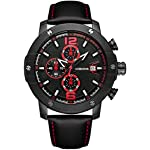 Mens Black Leather Wrist Watch - VOEONS 2017 Analog Quartz Chronograph Classical Casual Big Watch for Men, Teens, Waterproof, 2-Year Quality Warranty