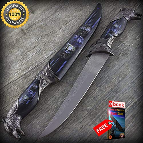13'' WOLF HEAD DAGGER SHARP KNIFE with COLLECTOR039S SHEATH Fantasy Steel Hunting Blade Combat Tactical Knife + eBOOK by Moon Knives