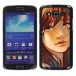 Paccase / SLIM PC / Aliminium Casa Carcasa Funda Case Cover para - Popular Tears Drop Girl Face Portrait Sad Heartbrake - Samsung Galaxy Grand 2 SM-G7102 SM-G7105