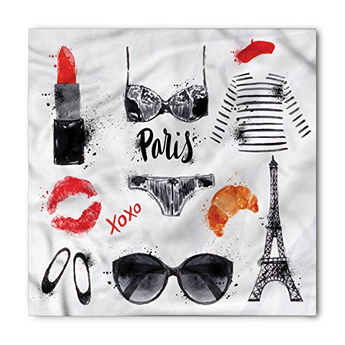 Paris Bandana by Lunarable, Symbols of Eiffel Tower Glasses Lipstick Shoes Lingerie Accessories, Printed Unisex Bandana Head and Neck Tie Scarf Headband, 22 X 22 Inches, Vermilion Pale Grey Orange from Lunarable