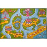 Kev & Cooper Playtime Collection Girls Road Map Educational Area Rug - 8'2'' x 9'10''