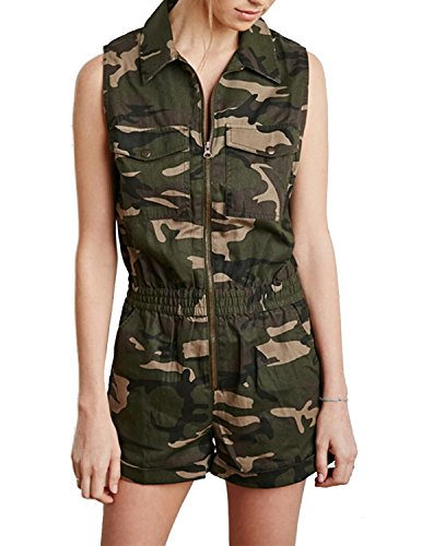 ASMAX haoduoyi Womens Costumes Military Navy Camouflage Short Jumpsuits (XL)]()