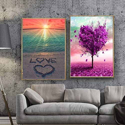 2 Sets 5D Full Drill Diamond Painting Kits Colored Love Heart Tree Rhinestone Painting Embroidery for Art Craft and Home Decoration, 12 x 16 inch